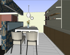 Dining room design with white table skp