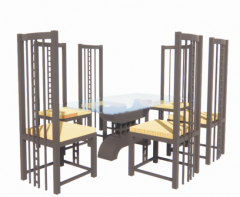 Dining table with glass and 6 chairs revit family