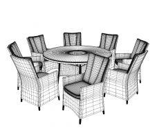 8 Sitzer Rattan Speisesaal 3DS Max Modell