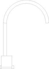 Double Handle Stainless Steel Faucet Left Side Elevation dwg Drawing