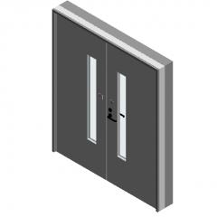 双扇平开钢质防火门-带观察窗-120°打开revit模型
