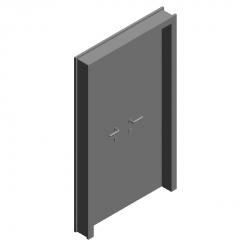 Double-leaf steel fire door revit model