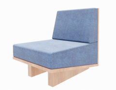 Wooden Chair with navy cushion revit family