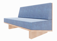 Loveseat chair with navy cushion revit family