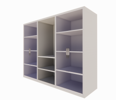 Lamilate white open cabinet with glass hinge on both side revit family