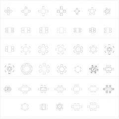 Four to Six Chairs and table Dining CAD collection dwg