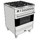 Gas oven (4 burns) with electric grill oven skp