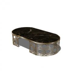 金框表与深色大理石桌面skp
