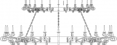 Gothic Traditional Church Chandelier Rear Elevation dwg Drawing