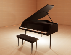 Dark Grand Piano with chair revit family