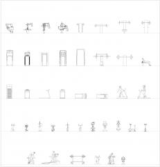 Fitnessgeräte - Cardio- und Hantelbänke CAD-Sammlung dwg