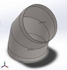 HVAC round duct 45degree Solidworks part