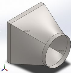 HVAC round duct square reducer Solidworks part