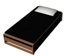 modern look designed hostel bed 3d model .3dm format