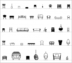 Cadeiras e sofás interiores elevações CAD coleção 02 dwg
