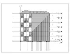 Irregular Shape Multistoried House Design Elevation .dwg-2