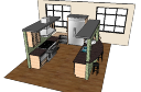 Дизайн кухни со светло-зеленой стенкой и барным стулом скп