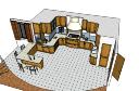 Дизайн кухни с лестницей и барным креслом скп