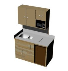 Kitchen platform with wall cabinet 3d model .3dm fromat