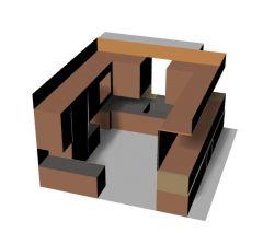 Modern fully equipped kitchen platform design 3d model .3dm format