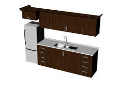 Modern design wooden kitchen platform 3d model .3dm format