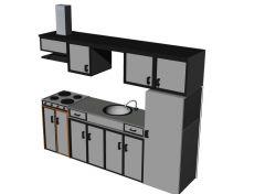 Multi cabinet designed kitchen platform 3d model .3dm format