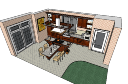 Küche mit Bar und Esstisch (4 Stühle) skp