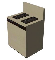 Simple colour shaded kitchen stove having a combination of 3 burners 3d model .3dm format