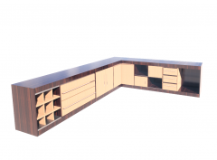 Modelo revit de balcão de cozinha de madeira