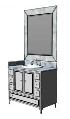 浅蓝色大理石柜,带浴室洗手池skp
