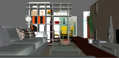 Living room and dining room design skp