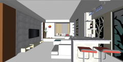 Living room design with bar and stools skp