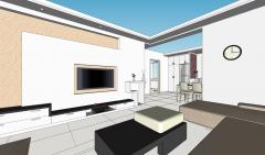 Дизайн гостиной с коричневым диваном и темным столом скп