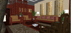 Living room design with chinese style skp