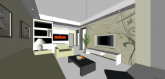 Living room design with light green skp