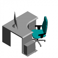 L-shaped desk (with computer) revit family