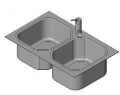 Sink Kitchen - Normal 2 Basins Revit Family