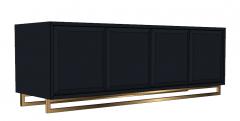 Gabinete de terciopelo azul marino con 4 puertas con bisagras y fondo de marco dorado skp