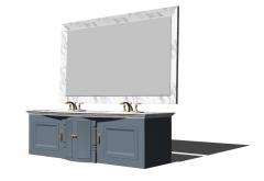 Тумба под раковину 2 в неоклассическом стиле с прямоугольным зеркалом (белая мраморная кайма) skp