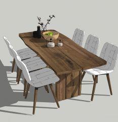 6つの白い椅子が付いているダイニングテーブルskp