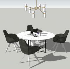 Mesa circular de comedor con 4 sillas skp