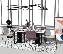 Dining table with 6 chairs skp