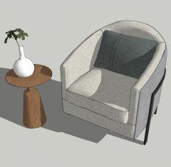 Уголок для чтения с эскизом серого кресла