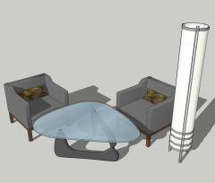 Leseecke mit 2 grauen Sesseln und Kreis Stehlampe skizzieren