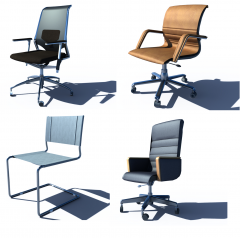 Office chairs 3d max VRAY collection
