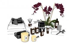 Орхидея со свечой, духами и подарками скп