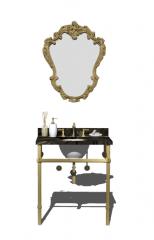 Palace Badezimmer Waschbecken mit Goldrand Spiegel skp