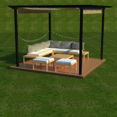 Pergola with seating for garden  fbx and sldasm models