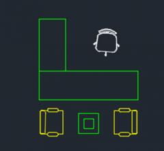 Büromöbel Planansicht DWG-Format