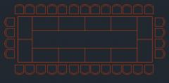 Formato dwg da visualização do plano da mesa de reunião